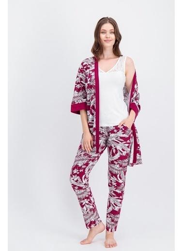 Arnetta Arnetta Bouquet Krem Kadın Pijama Takımı, Sabahlık 3'Lü Takım Krem